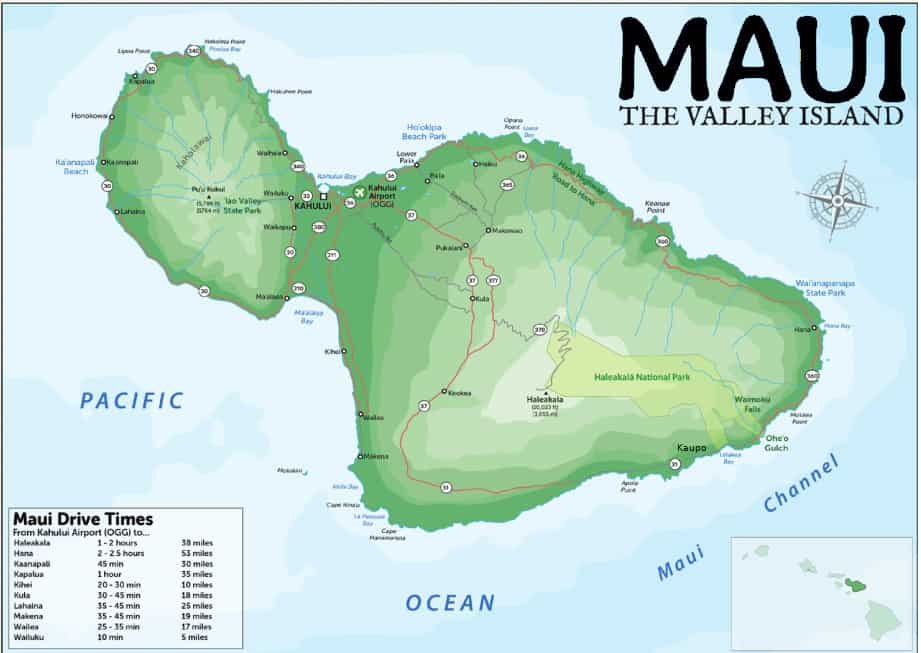 map of maui driving times
